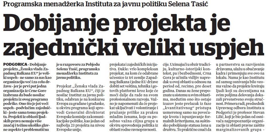 Selena Tasić - Dobijanje projekata je zajednički veliki uspjeh